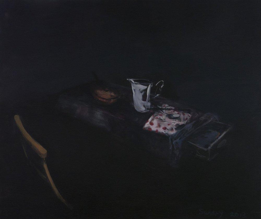 Jason Sumray  Jug with Serviette & Open Drawer I  Oil on canvas, 105 x 122 x 2 cm  http://www.jasonsumray.com