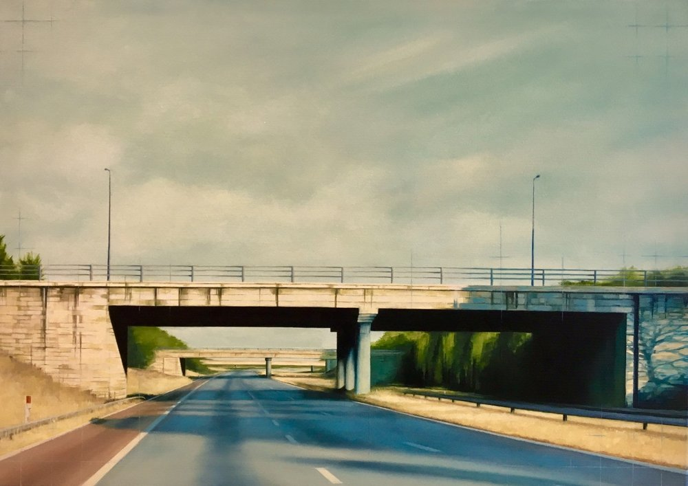 Jen Orpin  A Bridge Too Far  Oil on canvas, 50 x 70 x 3.5 cm  http://www.jenorpinpaintings.co.uk