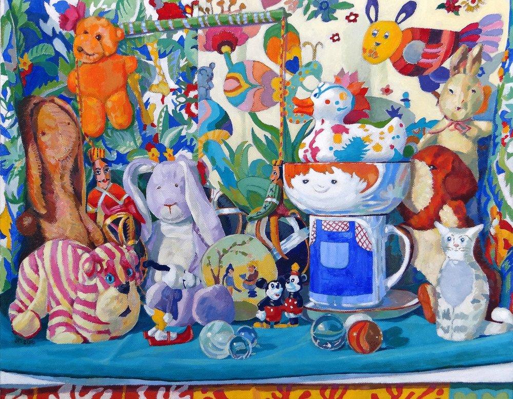 Jill Mirza  Still Life with Plastic Duck  Acrylic on canvas, 36 x 46 x 4 cm  http://www.jillmirza.co.uk