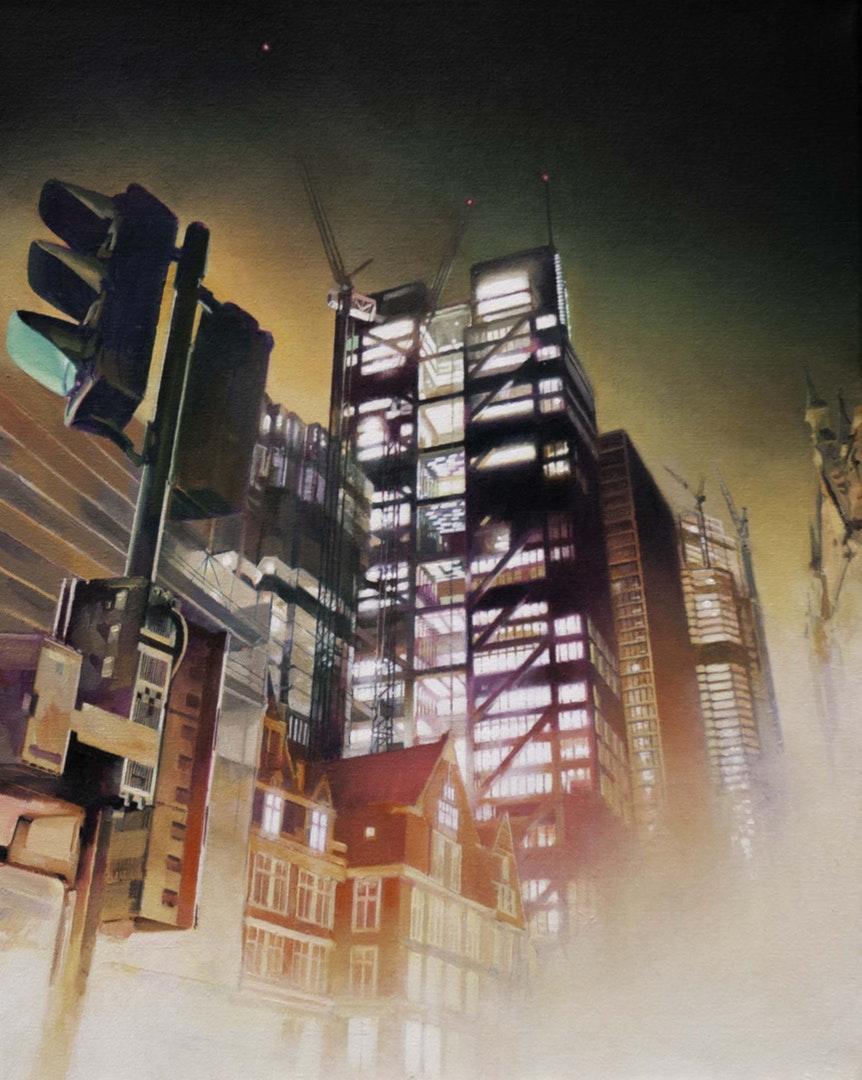 John Ball  Heron Tower  Oil on canvas, 41 x 51 x 1.8 cm  http://beware-the-void.com