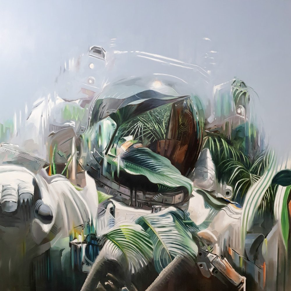 """Johnny Morant  """"The future will be green, or not at all""""  Oil on canvas, 130 x 130 x 5 cm  http://www.johnnymorant.com"""