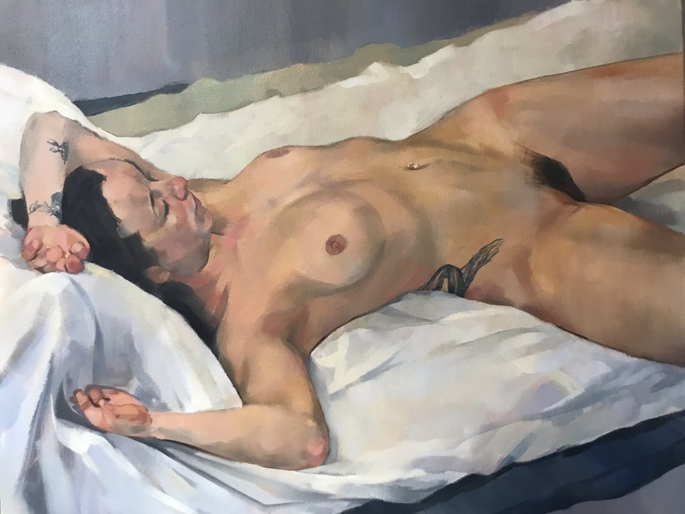 Julia Page  female nude  Oil on canvas, 60 x 77 x 2 cm