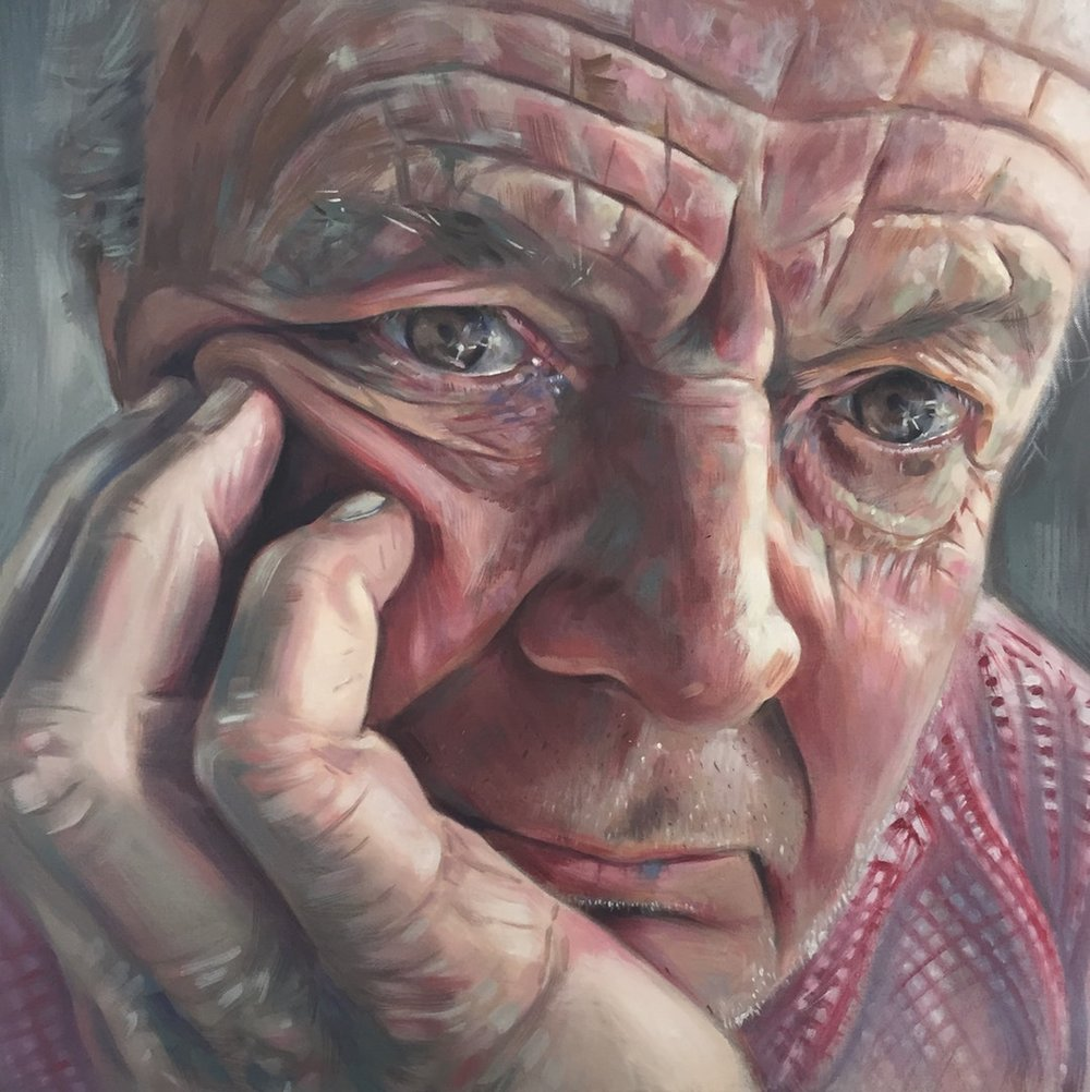 Libby Dillon  A portrait of my Dad  Oil on canvas, 60 x 60 x 4 cm  http://www.libbydillon.com