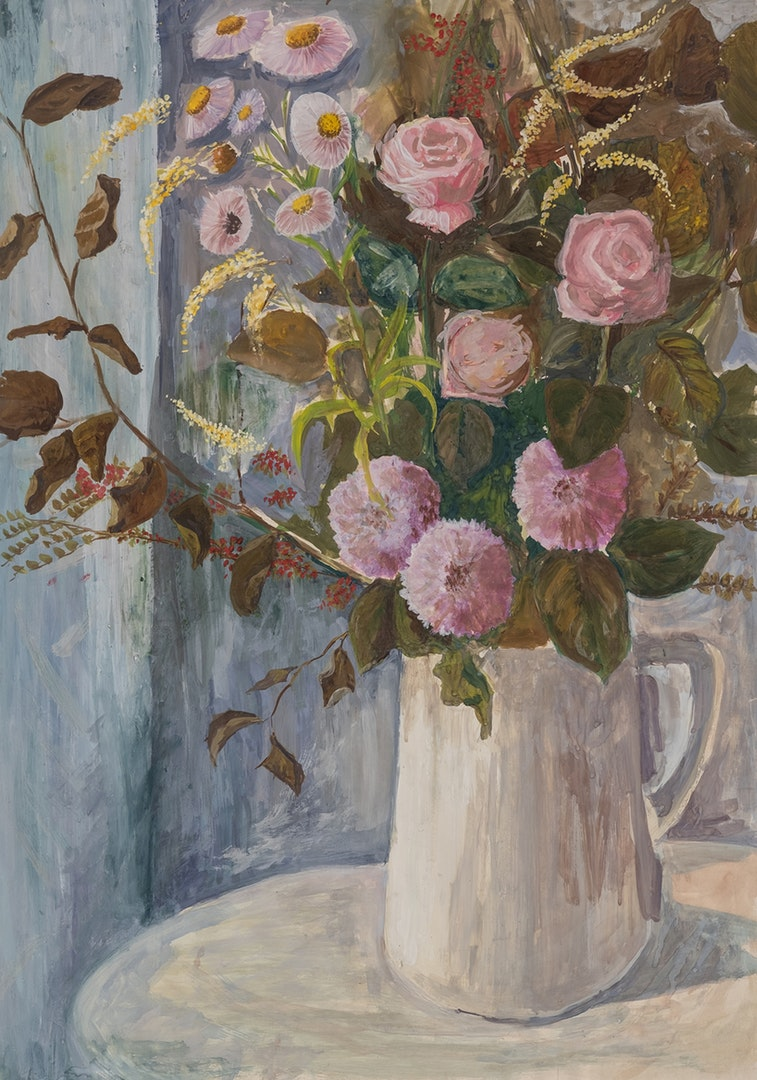 Liz Dowding  White jug with flowers  Powder paint and cartridge paper, 60 x 84 cm