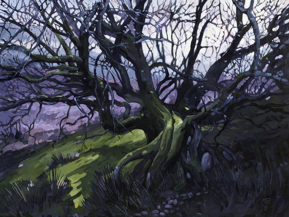 Martin Truefitt-Baker  Twisting Tree  Acrylic paint on linen., 46 x 61 cm  http://www.truefitt-baker.co.uk