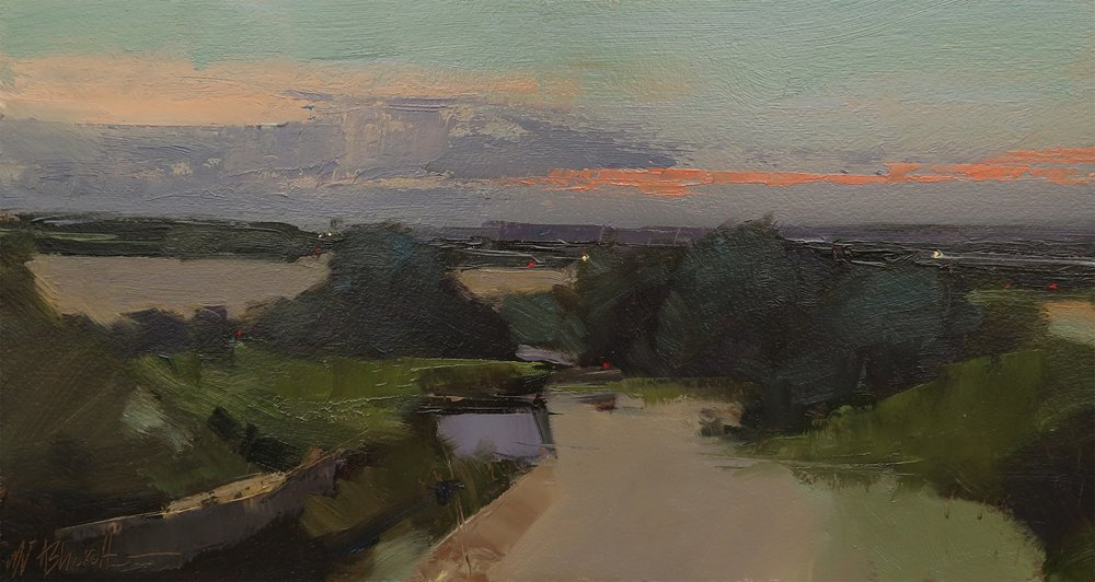 Michael Ashcroft  Sundown, White Coppice  Oil, 15 x 28 x 1 cm  http://www.michaeljohnashcroft.com