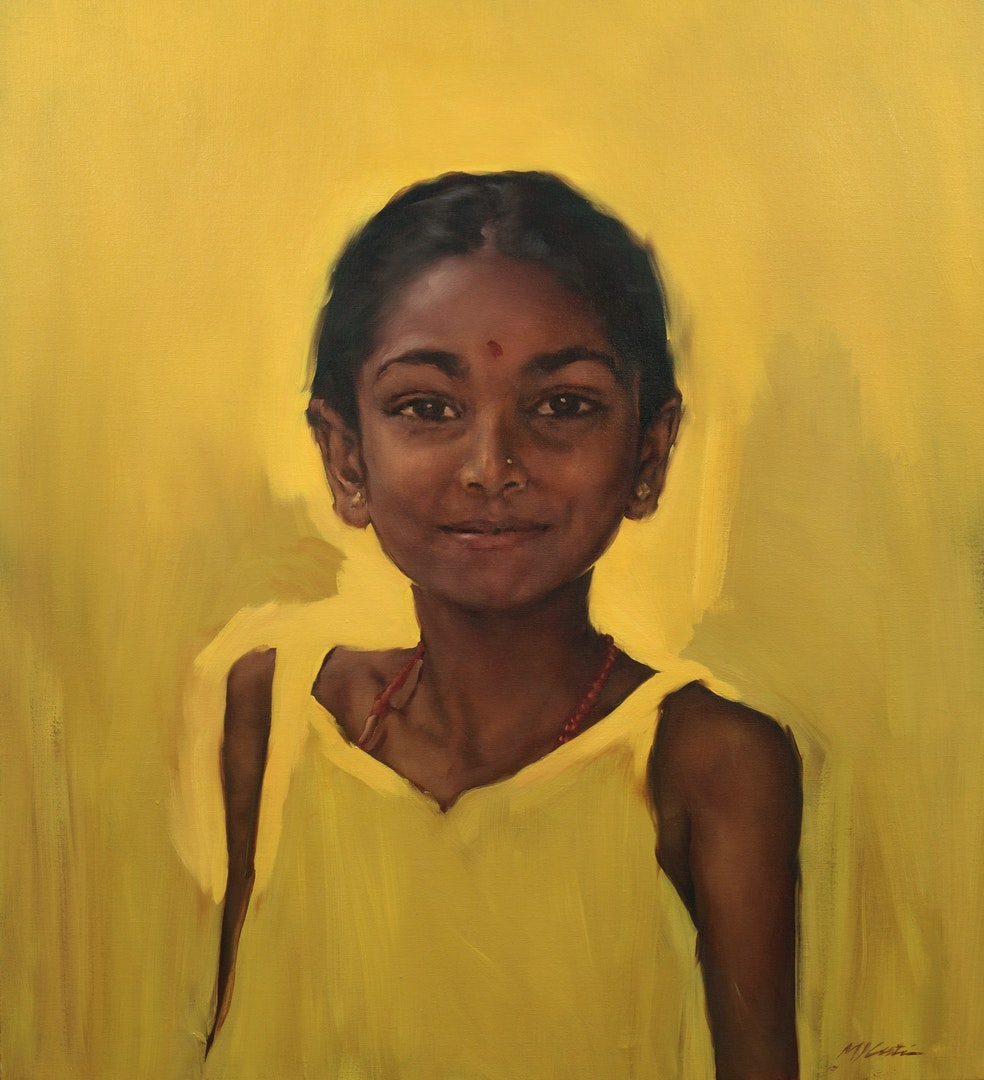 Michael Austin  Indian Girl  Oil, 112 x 100 cm  http://www.michaeljaustin.co.uk