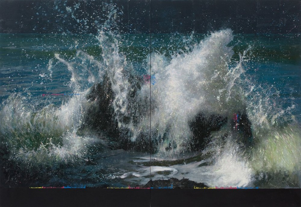 Michael Corkrey  Wave Breaking Over Rock (XXV)  Oil on canvas, with a layer of microcrystalline wax., 137 x 200 x 6 cm  http://www.michaelcorkrey.com