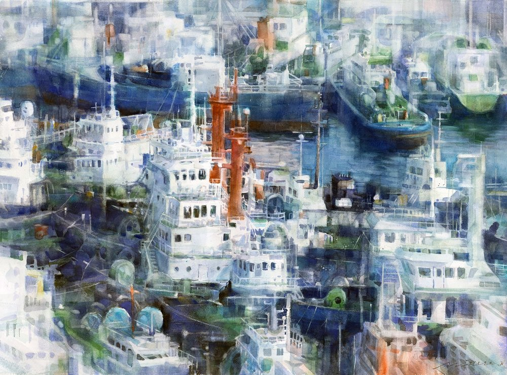 Misure Nien  Seaport morning  Watercolor and multi-washing, 54 x 76 cm  https://www.artblr.com/misurenien
