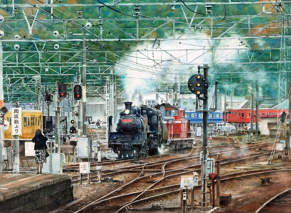 Misure Nien  Steam train station  Watercolor on paper, 56 x 79 cm  https://www.artblr.com/misurenien