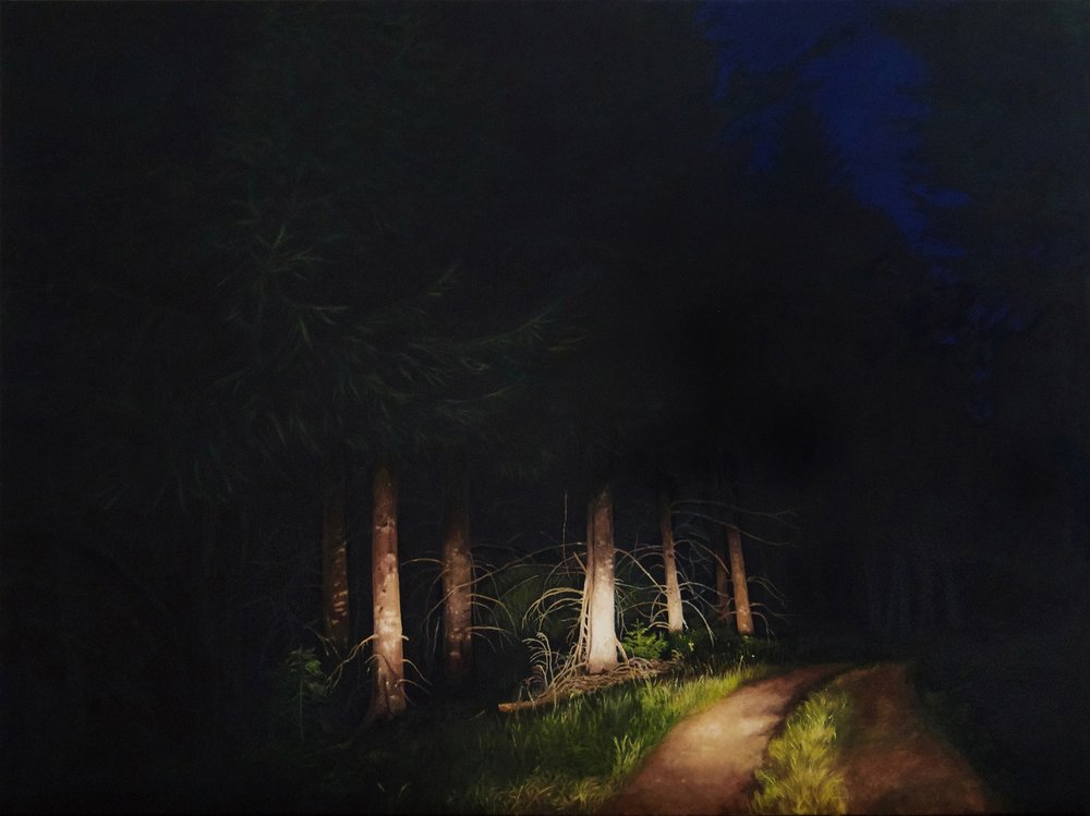 Natalie Dowse  Entre chien et loup 2  Oil on canvas, 90 x 120 x 3 cm  http://www.nataliedowse.co.uk