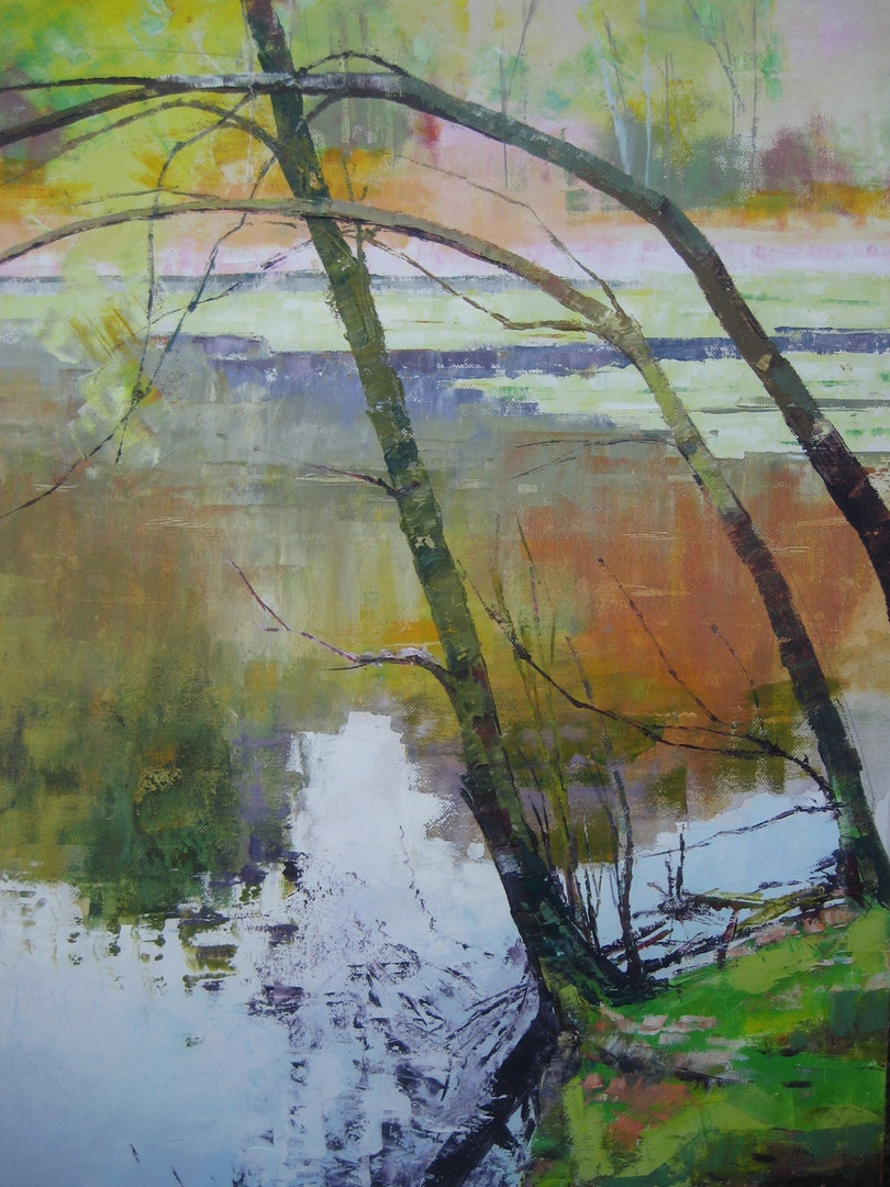 Nina O'Connell  Three Saplings  Oil on canvas, 76 x 50 x 4 cm  http://www.ninaoconnellart.com