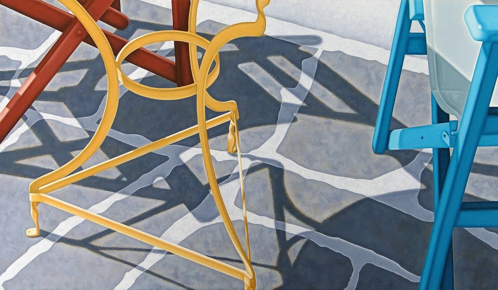 Nicholas Harris  Table and Two Chairs  Acrylic on canvas, 35 x 61 x 2 cm  http://www.nickhais.com