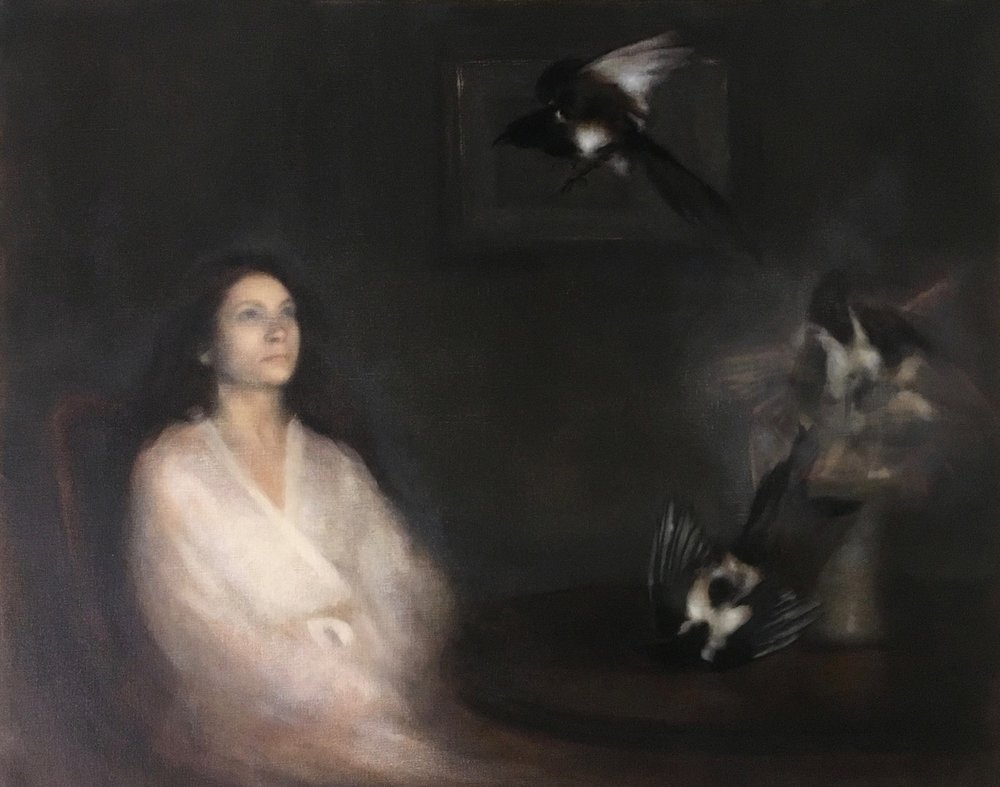 Nneka Uzoigwe  Portrait of woman summoning magpies  Oil on linen, 82 x 102 x 5 cm  http://www.nnekauzoigwe.com