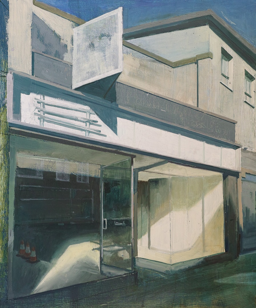 Tim Goffe  Empty Shop With Missing Signage  Oil on panel, 64 x 54 x 5 cm  https://www.timgoffestudio.com
