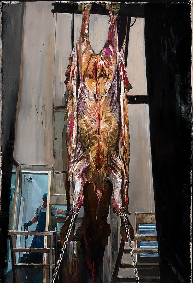 W.K. Lyhne  The Flayed Ox  Oil on linen, 255 x 125 x 5 cm  http://www.wklyhne.com