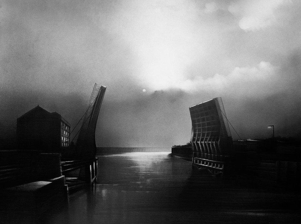 Christopher Knox  Scott St bridge, Hull  Graphite on paper, 66 x 86 cm  http://www.chrisknox.org.uk