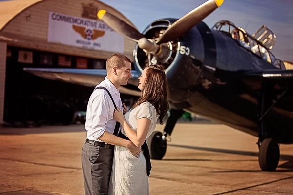 1940's Aviation styled engagement session captured by Misty Nolan Photography. Featured on Trendy Groom.