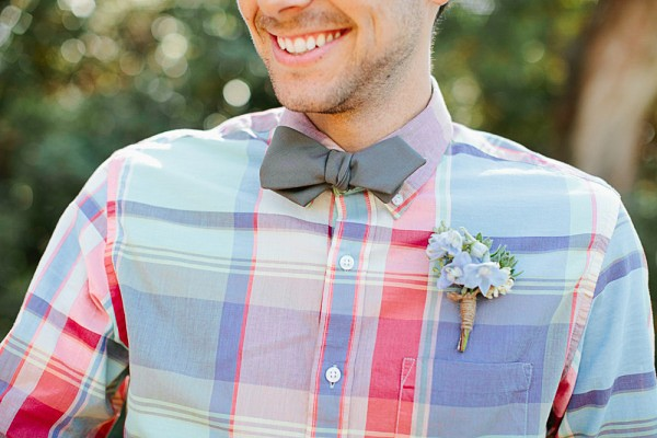 Colorful plaid shirt idea for the groom. Photos by Mason and Megan. Featured on Trendy Groom.