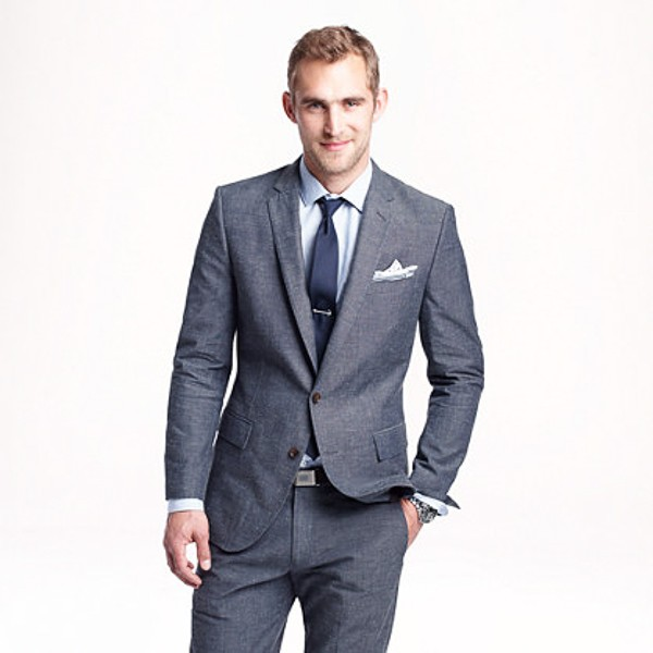 When selecting the suit for your nuptials, consider one made of Japanese chambray. It is definitely a viable option.