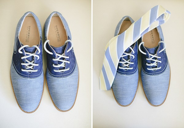 Something Blue shoes for the groom. Photos by Kina Wicks Photography. Featured on Trendy Groom.