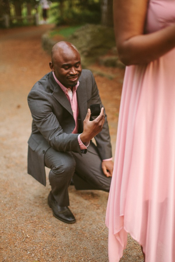 Arnold Arboretum Surprise Proposal. Captured by Amara Photo. Featured on Trendy Groom.