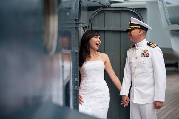 USS Battleship North Carolina Romantic Photo Session. Captured by Paige Overturf Photography. Featured on Trendy Groom Wedding Blog