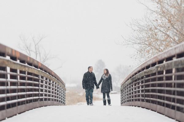 Snowy Colorado Engagement Photos