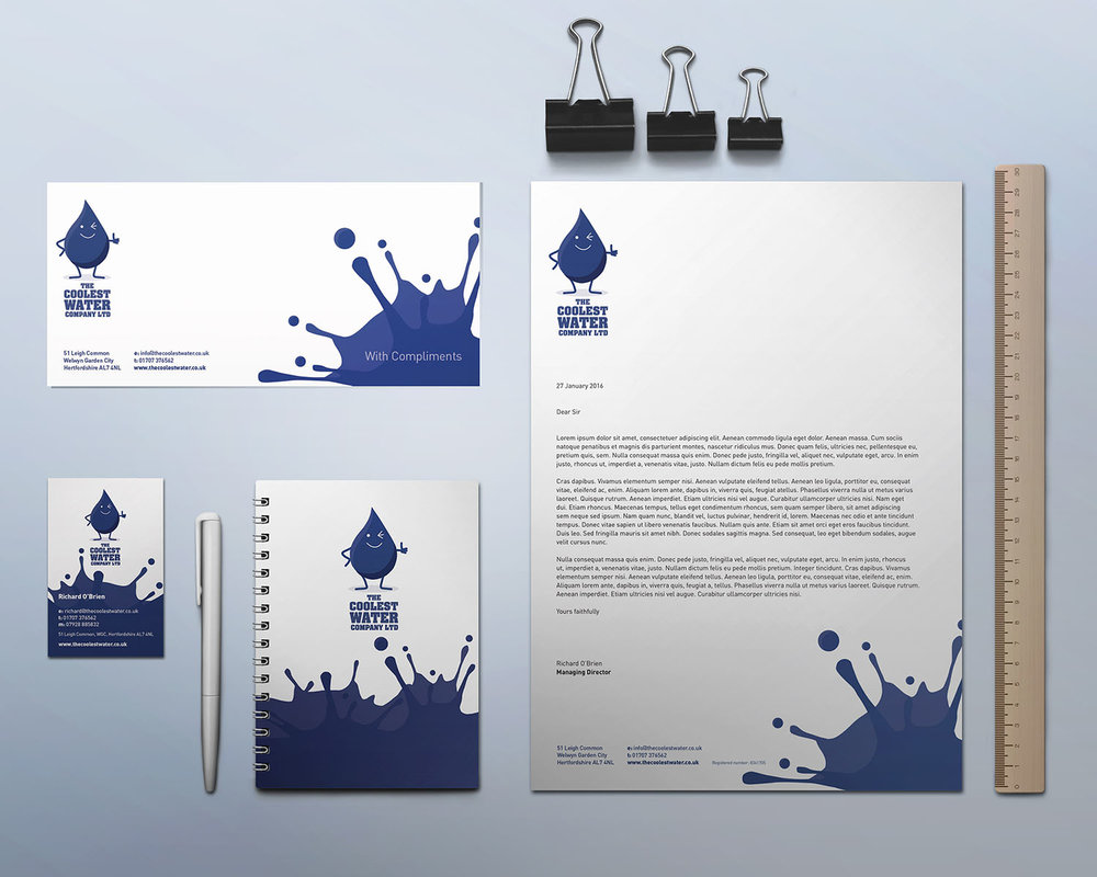 Portfolio project: The Coolest Water Ltd stationery | Beehive Green Design Studio