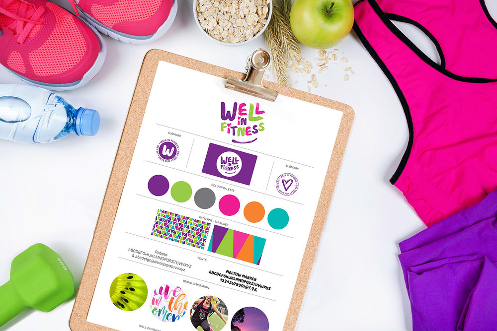 Portfolio project: Well In Fitness brand board | Beehive Green Design Studio