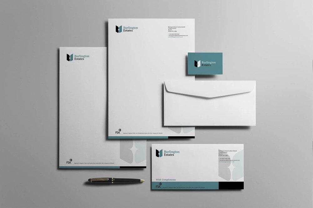 Portfolio project: Burlington Estates letterhead and stationery | Beehive Green Design Studio