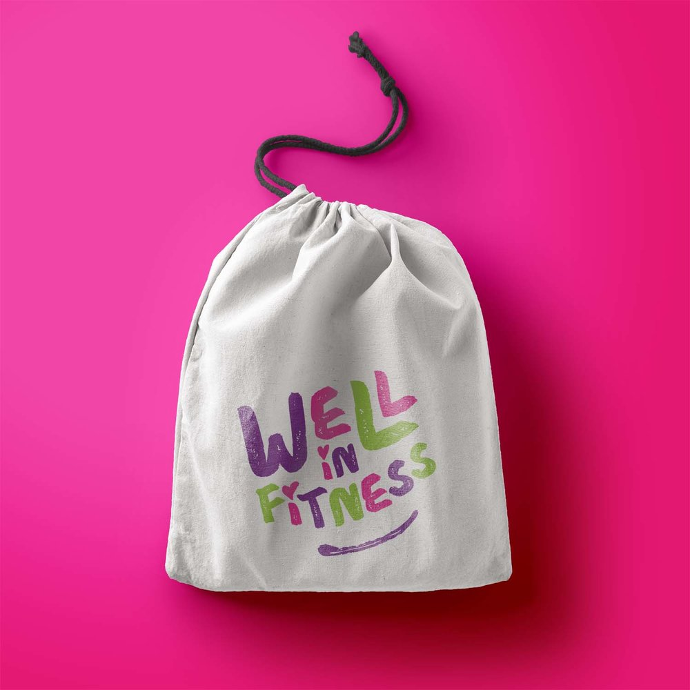 Portfolio project: Well In Fitness drawstring bag | Beehive Green Design Studio