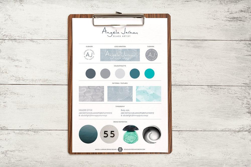 Portfolio project: Angela Jarman brand board | Beehive Green Design Studio
