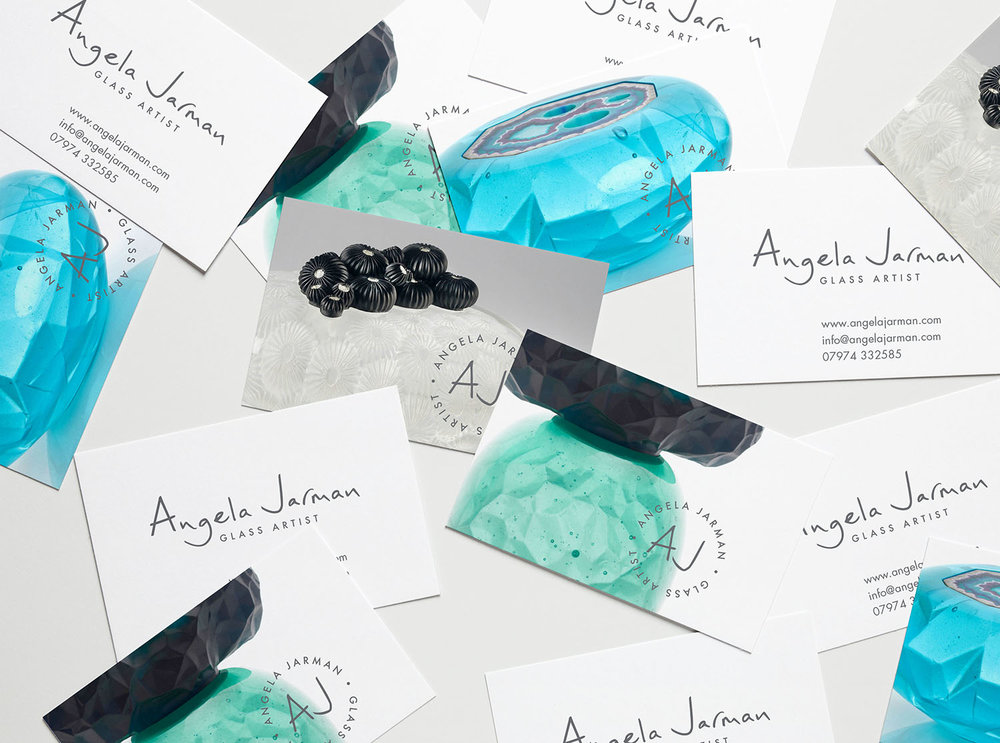 Portfolio project: Angela Jarman business card | Beehive Green Design Studio