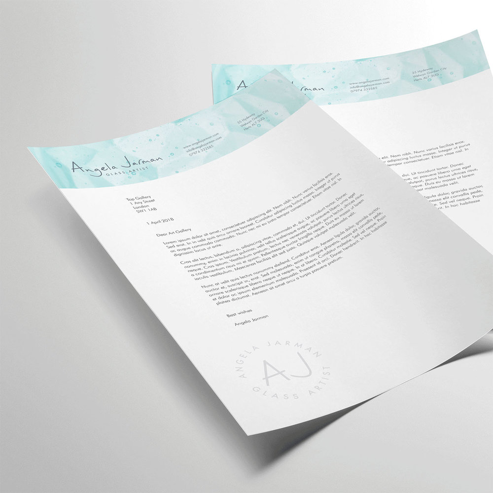 Portfolio project: Angela Jarman letterhead | Beehive Green Design Studio