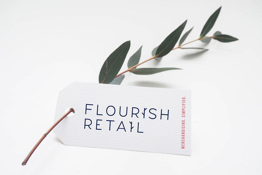 Portfolio project: Flourish Retail swing label design | Beehive Green Design Studio