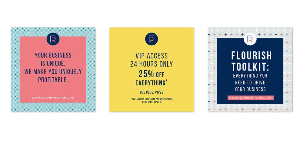Portfolio project: Flourish Retail Instagram social media feed graphics | Beehive Green Design Studio