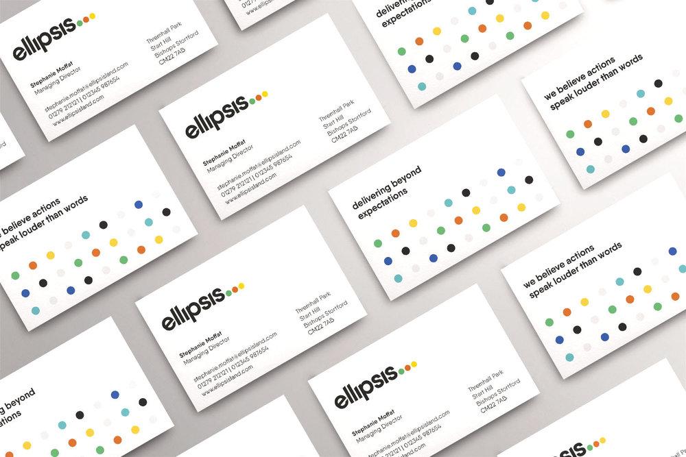 Portfolio project: Ellipsis business cards | Beehive Green Design Studio