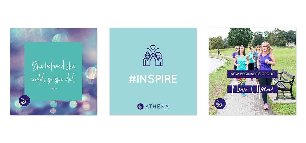 Portfolio project: Athena Instagram social media feed graphics | Beehive Green Design Studio