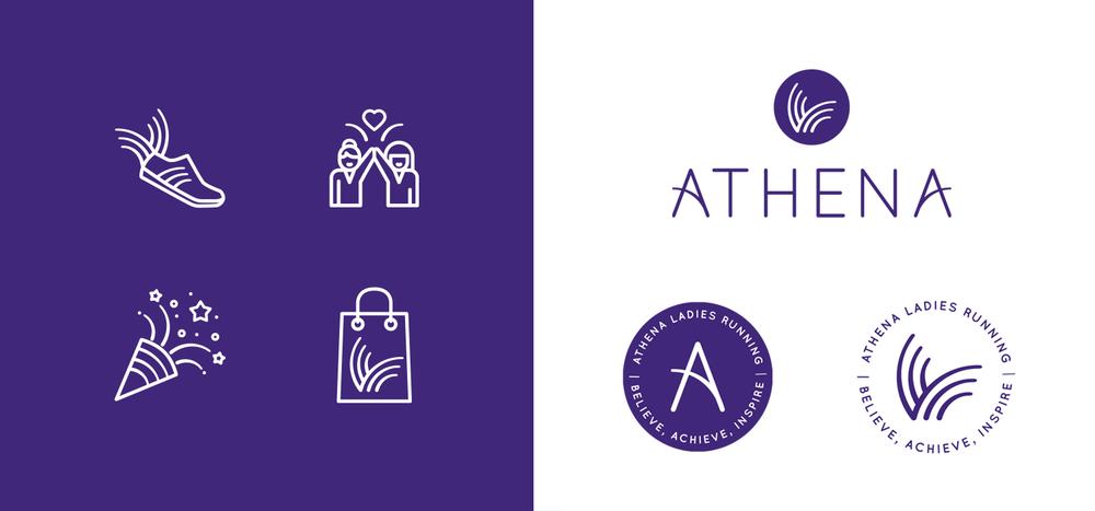 Portfolio project: Athena logo, submarks and icons | Beehive Green Design Studio