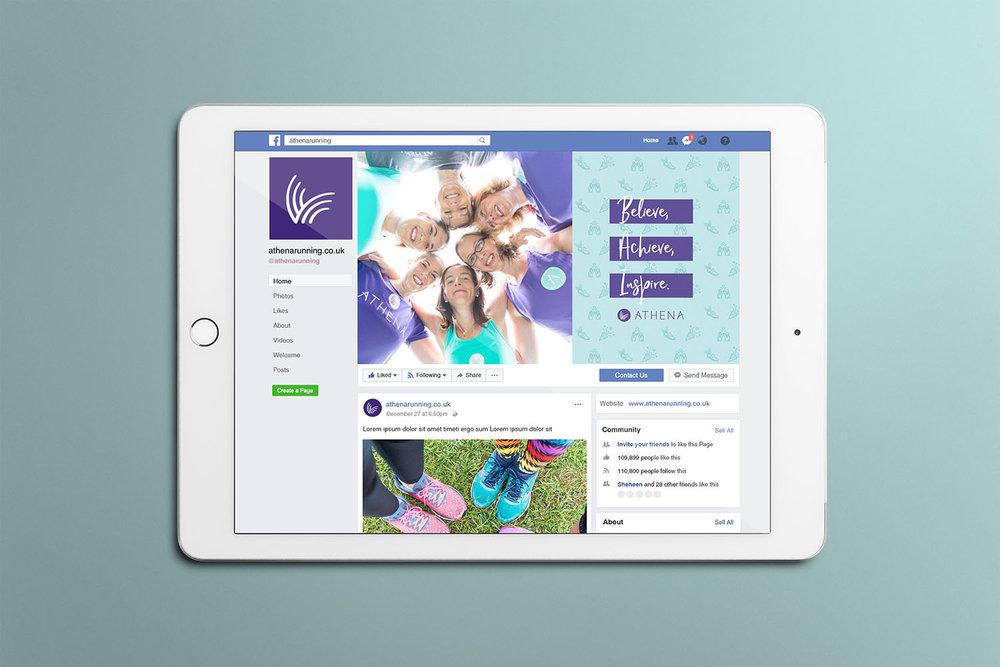 Portfolio project: Athena Facebook cover social profile design | Beehive Green Design Studio