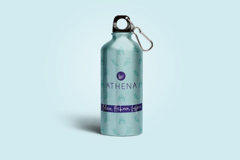 Portfolio project: Athena drinks bottle mockup | Beehive Green Design Studio