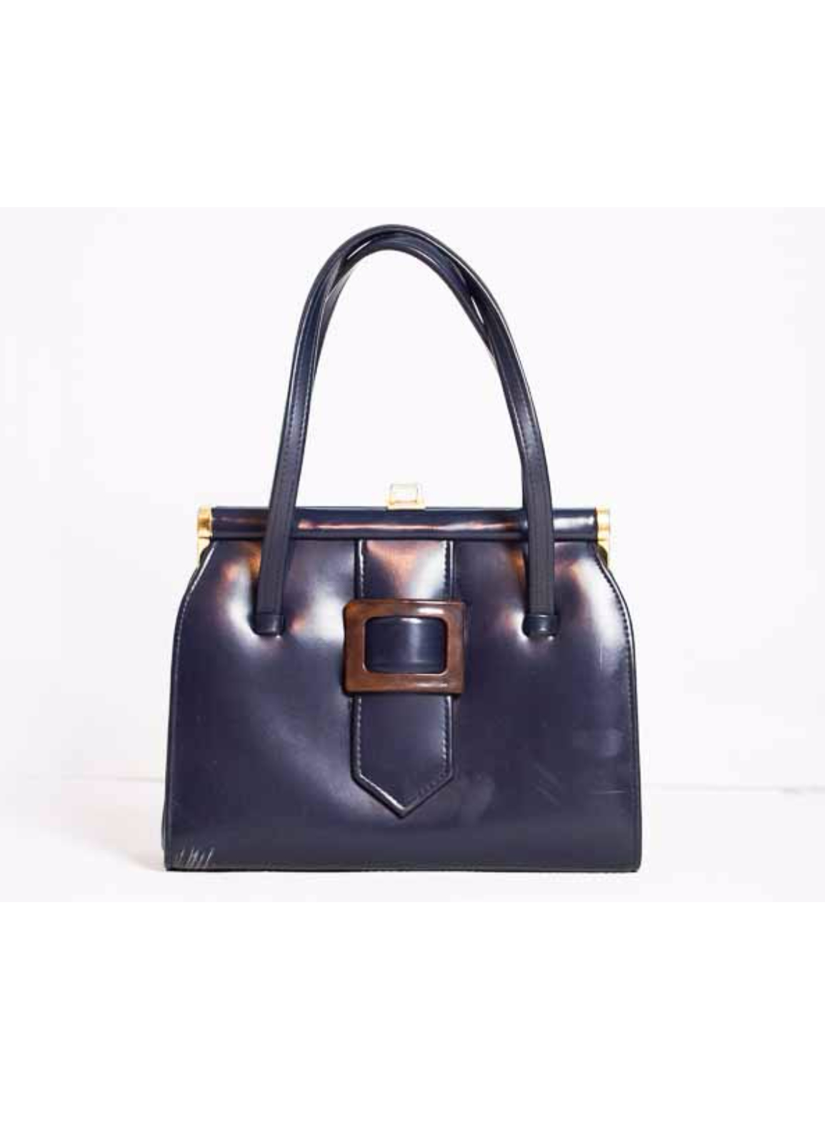 5abcd6f9d09b 1950s Vintage Kelly Bag in Blue Leatherette with Tortoiseshell Buckle