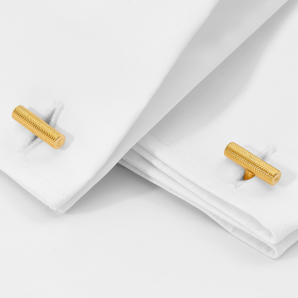 H Cufflink Herringbone, 18k Gold Plated_On_Shirt.jpg