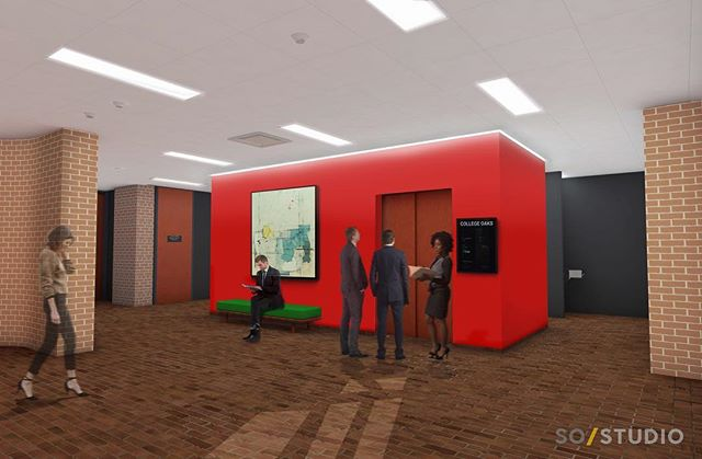 Interior Rendering of Lobby Renovation. Scroll to see existing.