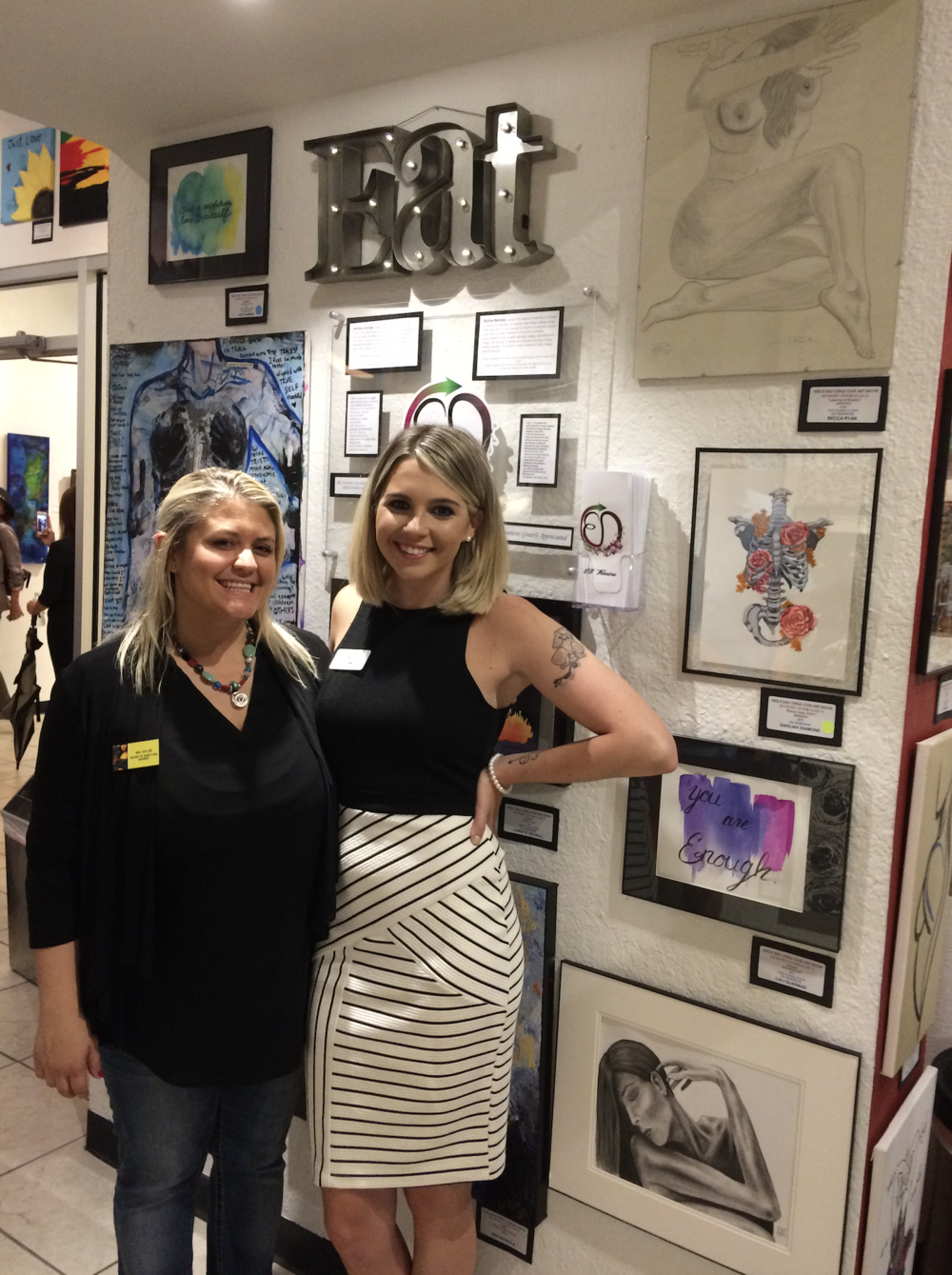 Mel Taylor, Founder of MBGC (left) and Belle Donnelly, Founder of EDW (right) at the 11th Annual Sensory Overload Art Show in Downtown Orlando, Florida.
