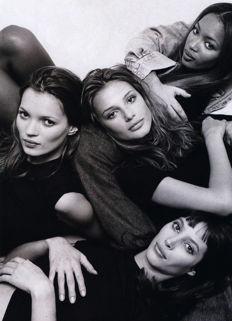 Kate Moss, Bridget Hall, Naomi Campbell and Christy Turlington photographed by Patrick Demarchelier, 1994