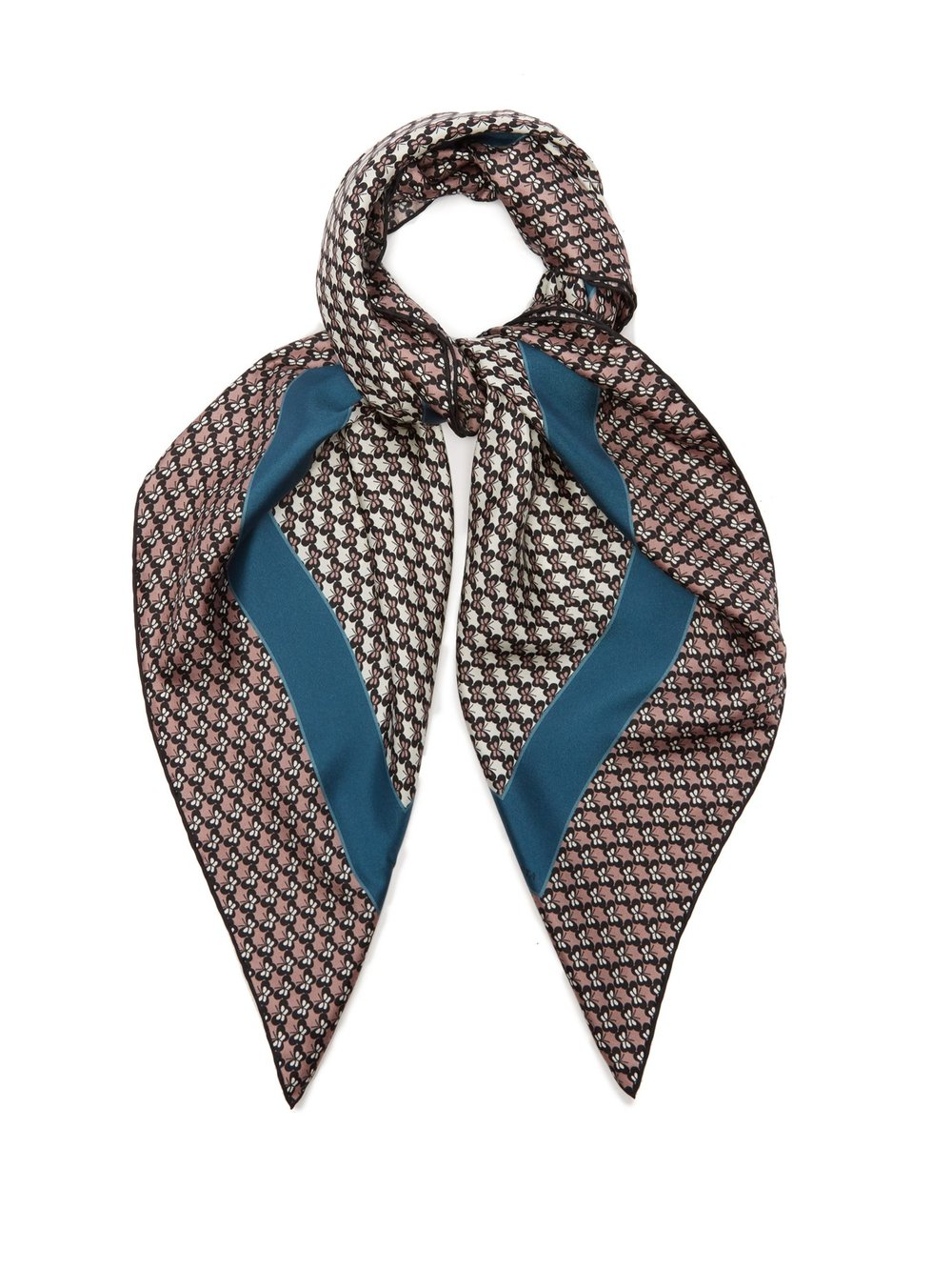 Butterfly-print silk scarf