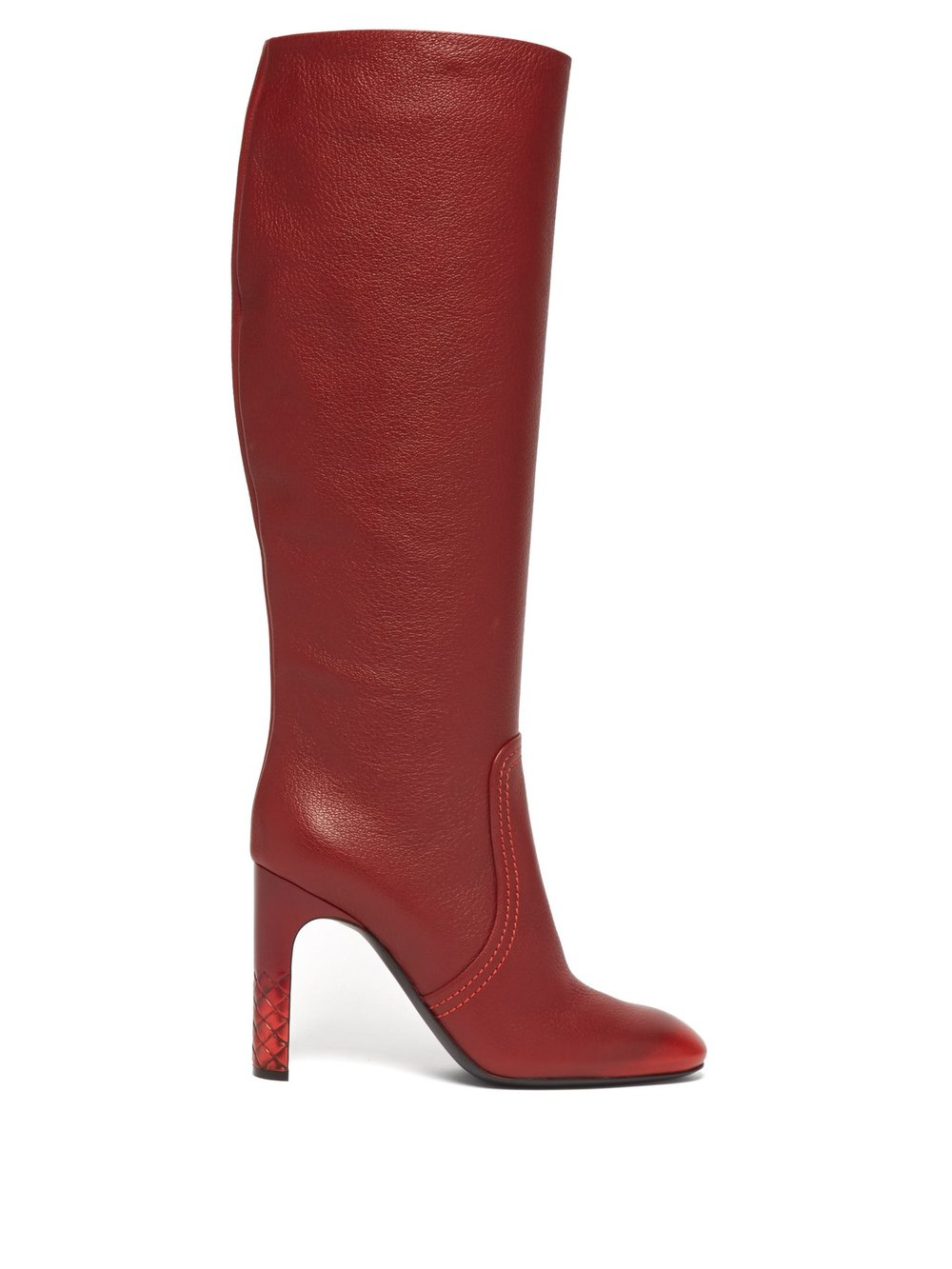 Intrecciato-heel knee-high leather boots