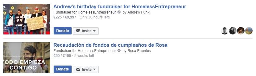 Dos ejemplos de campañas en Facebook para apoyar a los #HomelessEntrepreneur(s)
